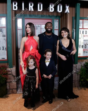 Sandra Bullock, Trevante Rhodes, executive producer Susanne Bier, actors Vivien Lyra Blair and Julian Edwards  arrive on the red carpet at the New York screening of 'Bird Box' at Alice Tully Hall, Lincoln Center on December 17, 2018 in New York City.
