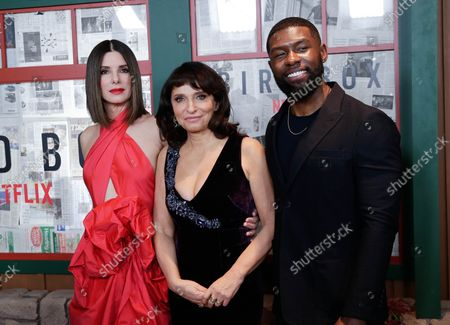Sandra Bullock, Trevante Rhodes and executive producer Susanne Bier arrive on the red carpet at the New York screening of 'Bird Box' at Alice Tully Hall, Lincoln Center on December 17, 2018 in New York City.