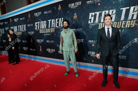 Ethan Peck and Shazad Latif arrive on the red carpet at the 'Star Trek: Discovery' Season 2 Premiere at the Conrad New York on January 17, 2019 in New York City.