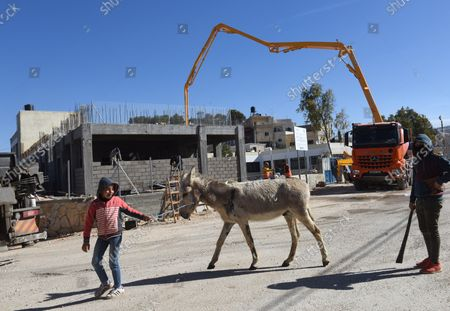 Editorial photo of Palestinians Build A School Funded By US Aid, Al-Jabba, West Bank - 23 Jan 2019