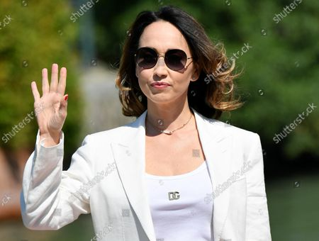 Chiara Francini arrives at the Lido Beach for the 78th annual Venice International Film Festival, in Venice, Italy, 05 September 2021. The festival runs from 01 to 11 September 2021.