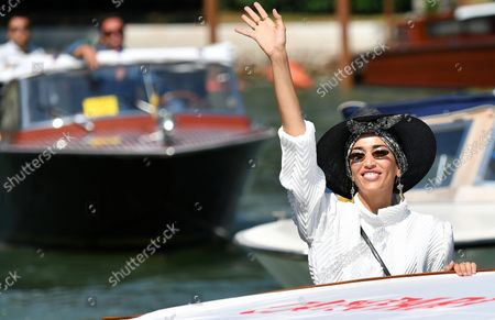 Nina Zilli (R) arrives at the Lido Beach for the 78th annual Venice International Film Festival, in Venice, Italy, 05 September 2021. The festival runs from 01 to 11 September 2021.