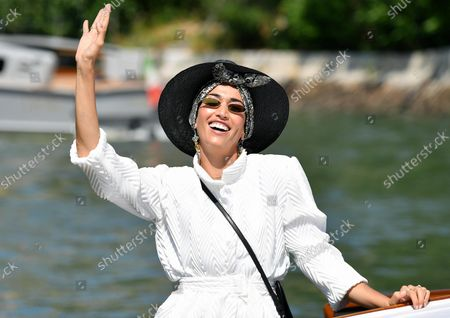 Nina Zilli arrives at the Lido Beach for the 78th annual Venice International Film Festival, in Venice, Italy, 05 September 2021. The festival runs from 01 to 11 September 2021.