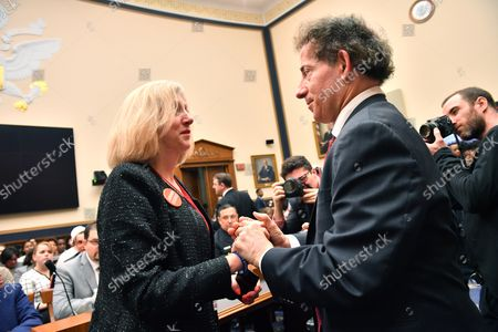Rep. Jamie Raskin, D-MD, greets Andrea Chamblee, the wife of Capital Gazette shooting victim John McNamara prior to a House Judiciary Committee hearing on preventing gun violence, on Capitol Hill in Washington, D.C. on February 6, 2019.