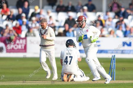 Yorkshire's Dom Bess is stumped by Somerset's Steve Davies