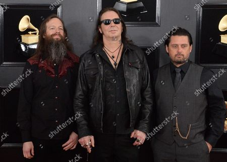 Stock Image of (L-R) Jeff Matz, Matt Pike and Des Kensel arrive for the 61st annual Grammy Awards held at Staples Center in Los Angeles on February 10, 2019.