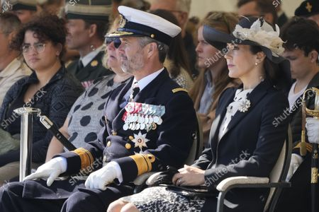 Danish Crown Prince Frederik (L) and Crown Princess Mary (R) attend during Veterans Flag Day at the Military Headquarters Kastellet in Copenhagen, Denmark, 05 September 2021. The Dannebrog is flown on Veterans Flag Day in honor of Denmark's deployed soldiers.