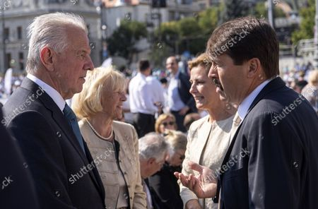 Hungarian President Janos Ader (R) and his wife Anita Herczegh (2ND-R) in the company of former Hungarian President, Member of  the International Olympic Committee (IOC) Pal Schmitt (L) and his wife Katalin Schmittne Makray ahead of  the opening holy mass of the 52nd International Eucharistic Congress on the Heroes' Square in Budapest, Hungary, 05 September 2021. The International Eucharistic Congress, which had to be postponed from 2020 due to the pandemic, will be held in Budapest from 05 to 12 September.