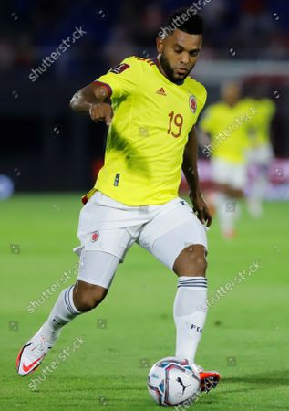 Colombia's Miguel Borja in action against Paraguay during the South American soccer qualifiers for the Qatar 2022 World Cup between Paraguay and Colombia, at the Defensores del Chaco Stadium in Asuncion, Paraguay, 05 September 2021.