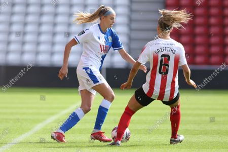 Kayleigh McDonald of Blackburn Rovers and Louise Griffiths of Sunderland in action during the FA Women's Championship match between Sunderland and Blackburn Rovers at the Stadium Of Light, Sunderland on Sunday 5th September 2021.