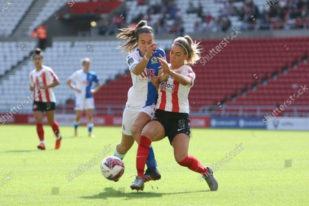 Stock Image of Louise Griffiths of Sunderland challenges during the FA Women's Championship match between Sunderland and Blackburn Rovers at the Stadium Of Light, Sunderland on Sunday 5th September 2021.