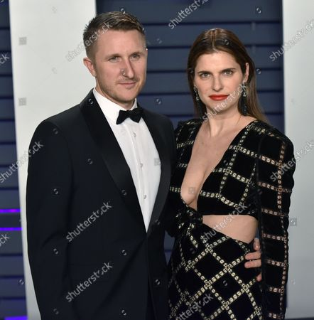 Lake Bell (R) and Scott Campbell arrive for the Vanity Fair Oscar Party at the Wallis Annenberg Center for the Performing Arts in Beverly Hills, California on February 24, 2019.
