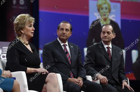 Small Business Administration (SBA) Administrator Linda McMahon (L) makes remarks as Health and Human Services (HHS) Secretary Alex Azar (C) and Labor Secretary Alex Acosta listen at the Conservative Political Action Conference (CPAC), February 28, 2019, in National Harbor, Maryland. Thousands of conservative activists, Republicans and Tea Party Patriots gathered to hear politicians and radio and TV hosts speak, lobby and network for the conservative cause.