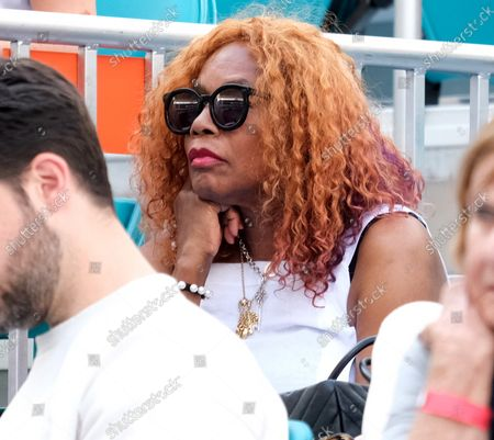 Serena Williams mother Oracene Price watches her daughter defeat Rebecca Peterson from Sweden at the Miami Open in the Hard Rock Stadium in Miami Gardens, Florida on March 22 , 2019.  Williams defeated Peterson 6-3,1-6,6-1 in three sets.
