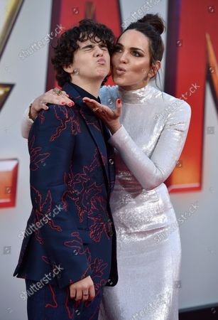 Marta Milans (R) and Jack Dylan Grazer attend the world premiere of 'Shazam!' at the TCL Chinese Theatre in Los Angeles, California on March 28, 2019.