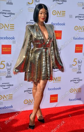 Tami Roman arrives for the 50th annual NAACP Image Awards at the Dolby Theatre in the Hollywood section of Los Angeles on March 30, 2019. The NAACP Image Awards celebrates the accomplishments of people of color in the fields of television, music, literature and film and also honors individuals or groups who promote social justice through creative endeavors.
