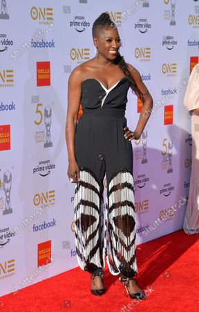 Stock Picture of Rutina Wesley arrives for the 50th annual NAACP Image Awards at the Dolby Theatre in the Hollywood section of Los Angeles on March 30, 2019. The NAACP Image Awards celebrates the accomplishments of people of color in the fields of television, music, literature and film and also honors individuals or groups who promote social justice through creative endeavors.