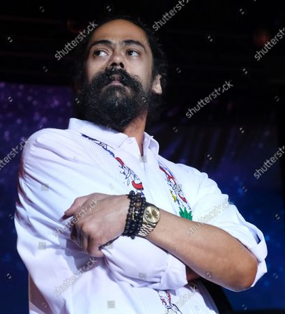 Damian Marley performs at the KAYA music fest at Bayfront park in Miami, Florida on April 20, 2019.