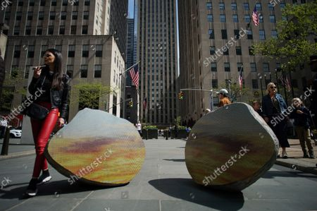 Split Stone (7:34), 2018 by Sarah Sze is on display at a media preview of the inaugural Frieze Sculpture at Rockefeller Center, a free public art installation featuring 20 sculptures from 14 local and international artists, on April 25, 2019 in New York City. Sculptures from Nick Cave, Aaron Curry, Jose Davila, Walter De Maria, Rochelle Goldberg, Goshka Macuga, Ibrahim Mahama, Joan Miro, Paulo Nazareth, Jaume Plensa, Pedro Reyes, Kiki Smith, Sarah Sze, and Hank Willis Thomas are featured in Frieze Sculpture at Rockefeller Center. Works appear in a variety of indoor and outdoor locations throughout the Center including Rockefeller Plaza, the Channel Gardens, the Rink at Rockefeller Center, North Plaza, and South Esplanade.