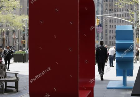 Harriet and Annie (Capri), 2018 Josephine and Kazumi (Real Red), 2018 by Hank Willis Thomas is on display at a media preview of the inaugural Frieze Sculpture at Rockefeller Center, a free public art installation featuring 20 sculptures from 14 local and international artists, on April 25, 2019 in New York City. Sculptures from Nick Cave, Aaron Curry, Jose Davila, Walter De Maria, Rochelle Goldberg, Goshka Macuga, Ibrahim Mahama, Joan Miro, Paulo Nazareth, Jaume Plensa, Pedro Reyes, Kiki Smith, Sarah Sze, and Hank Willis Thomas are featured in Frieze Sculpture at Rockefeller Center. Works appear in a variety of indoor and outdoor locations throughout the Center including Rockefeller Plaza, the Channel Gardens, the Rink at Rockefeller Center, North Plaza, and South Esplanade.   Photo by John Angelillo/UPIenter, North Plaza, and South Esplanade.