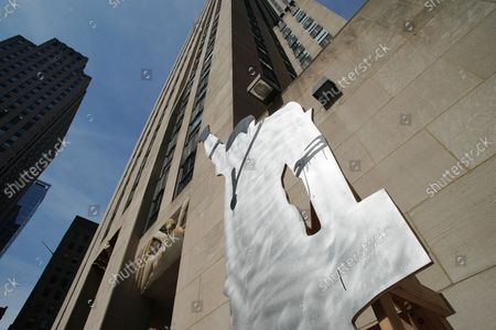 DRY CUT [from BLACKS IN THE POOL - Tommie], 2019 by Paulo Nazareth is on display near 6th Avenue at a media preview of the inaugural Frieze Sculpture at Rockefeller Center, a free public art installation featuring 20 sculptures from 14 local and international artists, on April 25, 2019 in New York City. Sculptures from Nick Cave, Aaron Curry, Jose Davila, Walter De Maria, Rochelle Goldberg, Goshka Macuga, Ibrahim Mahama, Joan Miro, Paulo Nazareth, Jaume Plensa, Pedro Reyes, Kiki Smith, Sarah Sze, and Hank Willis Thomas are featured in Frieze Sculpture at Rockefeller Center. Works appear in a variety of indoor and outdoor locations throughout the Center including Rockefeller Plaza, the Channel Gardens, the Rink at Rockefeller Center, North Plaza, and South Esplanade.