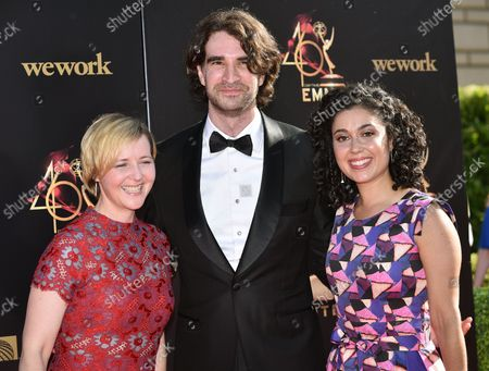 Carly Ciarrocchi (R) arrives on the red carpet for the 46th Annual Daytime Creative Arts Emmy Awards at the Pasadena Civic Auditorium in Pasadena, California on May 3, 2019.
