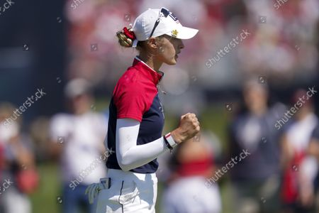 United States' Nelly Korda celebrates after a putt on the 11th hole during the singles matches at the Solheim Cup golf tournament, in Toledo, Ohio