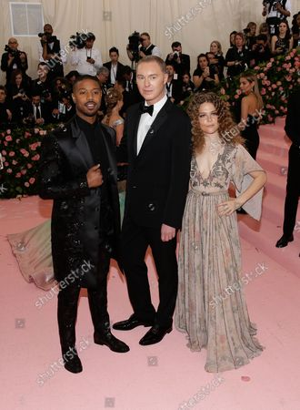 """Maggie Rogers, Stuart Vevers, and Michael B. Jordan arrive on the red carpet at The Metropolitan Museum of Art's Costume Institute Benefit """"Camp: Notes on Fashion"""" at Metropolitan Museum of Art in New York City on May 6, 2019."""