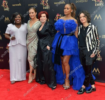 'The Talk' cast (L-R) Sheryl Underwood, Carrie Ann Inaba, Sharon Osbourne, Eve and Sara Gilbert arrive on the red carpet for the 46th Annual Daytime Emmy Awards at the Pasadena Civic Auditorium in Pasadena, California on May 5, 2019.