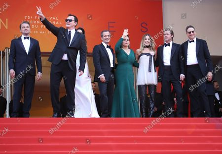 """Stock Image of (From L to R) Leonardo DiCaprio, Quentin Tarantino, Daniela Pick, David Heyman, Shannon McIntosh, Margot Robbie, Brad Pitt and Thomas Rothman arrive on the red carpet before the screening of the film """"Once Upon A Time In ... Hollywood"""" at the 72nd annual Cannes International Film Festival in Cannes, France on May 21, 2019."""