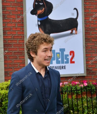 """Cast member Sean Giambrone, the voice of Cotton in the animated motion picture comedy """"The Secret Life of Pets 2"""" attends the premiere of the film at the Regency Village Theatre in the Westwood section of Los Angeles on June 2, 2019. Storyline: Max faces some major changes after his owner Katie gets married and now has a child . On a family trip to the countryside, Max meets a farm dog named Rooster, and both attempt to overcome his fears. Meanwhile, Gidget tries to rescue Max's favorite toy from a cat-packed apartment, and Snowball sets on a mission to free a white tiger named Hu from a circus."""