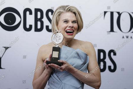 """Celia Keenan-Bolger, winner of the award for Best Performance by an Actress in a Featured Role in a Play for """"To Kill a Mockingbird,"""" arrives in the press room at The 73rd Annual Tony Awards at Radio City Music Hall on June 9, 2019 in New York City."""