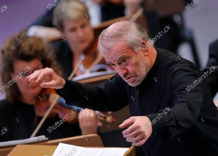 Russian conductor Valery Gergiev performs, with The Munich Philharmonic orchestra, Bruckner's Symphony No. 6 in A major WAB 106 on the stage of Grand Palace Hall during Enescu Festival 2021, in Bucharest, Romania, 06 September 2021. The festival, held every two years since 1958, is the biggest classical music festival held in Romania and is named after Romanian composer and violinist George Enescu. The 2021 edition runs from 28 August to 26 September 2021 with the participation of 32 orchestras from 14 countries, totaling 3,500 foreign and Romanian artists. Special measures are being taken to reduce health risks for spectators and artists.