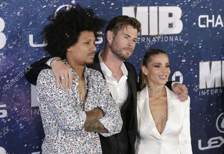 """Laurent Bourgeois, Chris Hemsworth and Elsa Pataky arrive on the red carpet at the """"Men In Black International"""" World Premiere at AMC Loews Lincoln Square 13 on June 11, 2019 in New York City."""