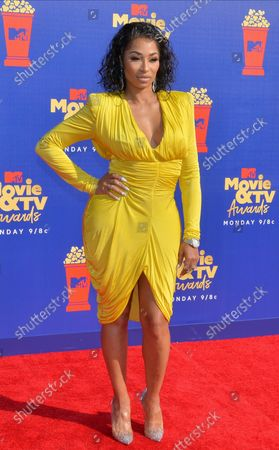 Karlie Redd arrives for the taping of the 28th annual MTV Movie & TV Awards ceremony at the Barker Hangar in Santa Monica, California on June 15, 2019. The show will air on Monday, June 17th.