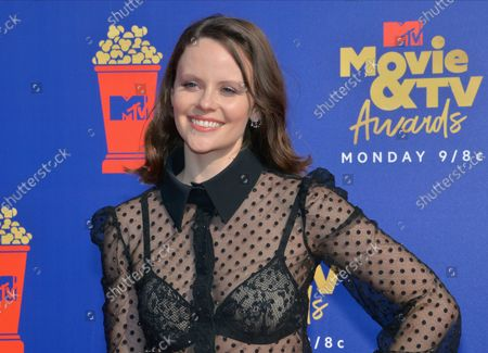 Sarah Ramos arrives for the taping of the 28th annual MTV Movie & TV Awards ceremony at the Barker Hangar in Santa Monica, California on June 15, 2019. The show will air on Monday, June 17th.