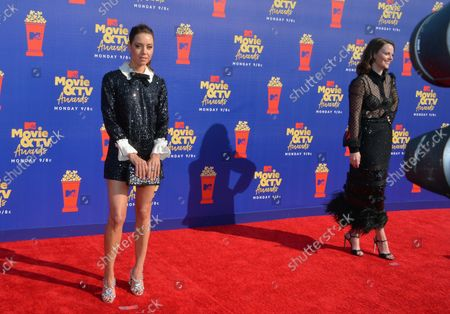 (L-R) Aubrey Plaza and Sarah Ramos arrive for the taping of the 28th annual MTV Movie & TV Awards ceremony at the Barker Hangar in Santa Monica, California on June 15, 2019. The show will air on Monday, June 17th.