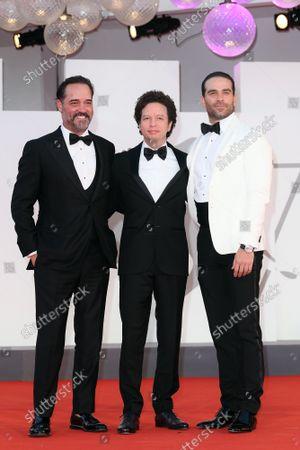 Miguel Mier, Michel Franco, Alejandro Nones during La Caja premiere, 78th Venice Film Festival, Italy, 06 Sep 2021