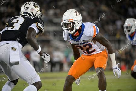 Boise State cornerback Tyric LeBeauf (22) defends against Central Florida wide receiver Brandon Johnson (3) during the first half of an NCAA college football game, in Orlando, Fla