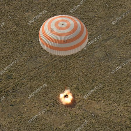 The Soyuz MS-11 spacecraft is seen as it lands in a remote area near the town of Zhezkazgan, Kazakhstan with Expedition 59 crew members Anne McClain of NASA, David Saint-Jacques of the Canadian Space Agency, and Oleg Kononenko of Roscosmos, on June 25, 2019, Kazakh time (June 24 Eastern time). McClain, Saint-Jacques, and Kononenko are returning after 204 days in space where they served as members of the Expedition 58 and 59 crews onboard the International Space Station. NASA