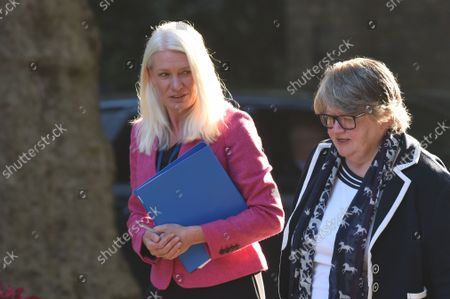 Stock Image of Amanda Milling Minister without Portfolio and Therese Coffey secretary of state for work and pensions arrives at Downing street for a cabinet meeting