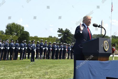 President Donald Trump makes remarks at a welcome ceremony for the new Secretary of Defense Mark Esper, at the Pentagon, July 25, 2019, Washington, DC. The Department of Defense has been without a full-time leader since former Secretary Jim Mattis resigned in December 2018.