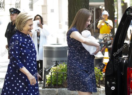 Editorial photo of Chelsea Clinton holding new born baby Jasper, New York, United States - 25 Jul 2019