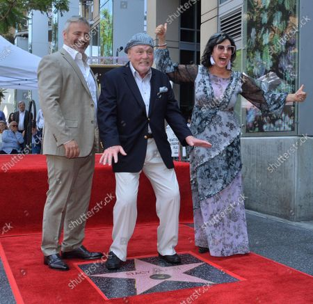 Actor Stacy Keach (C) is joined by actor Matt LeBlanc (L) and his wife, former Polish model and actress Malgosia Tomassi during a ceremony honoring him with the 2,668th star on the Hollywood Walk of Fame in Los Angeles on Wednesday, July 31, 2019.