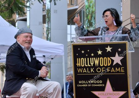 Stock Image of Actor Stacy Keach (L) reacts to comments by his wife, former Polish model and actress Malgosia Tomassi during a ceremony honoring him with the 2,668th star on the Hollywood Walk of Fame in Los Angeles on Wednesday, July 31, 2019.