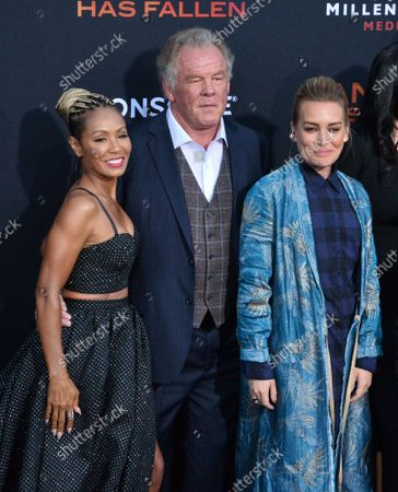 """Stock Image of Cast members Piper Perabo, Nick Nolte and Jada Pinkett Smith (L-R) attend the premiere of the motion picture action film """"Angel Has Fallen"""" at the Regency Village Theatre in the Westwood section of Los Angeles on Tuesday, August 20, 2019. Storyline: After the events in the previous film, Secret Service agent Mike Banning finds himself framed for an assassination attempt on the President. Pursued by his own agency and the FBI, Banning races to clear his name and uncover the real terrorist threat which has set its sights on Air Force One."""