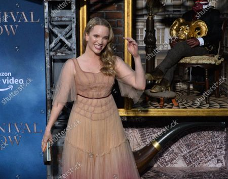 """Stock Image of Cast member Tamzin Merchant attends the premiere of the motion picture fantasy thriller """"Carnival Row"""" at the TCL Chinese Theatre in the Hollywood section of Los Angeles on Wednesday, August 21, 2019. Storyline: A human detective and a fairy rekindle a dangerous affair in a Victorian fantasy world, where the city's uneasy peace collapses when a string of murders reveals an unimaginable monster."""