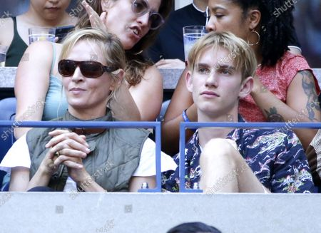 Uma Thurman and son Levon Roan Thurman-Hawke watch the Menâ€s Final in Arthur Ashe Stadium at the 2019 US Open Tennis Championships at the USTA Billie Jean King National Tennis Center on Sunday, September 8, 2019 in New York City.