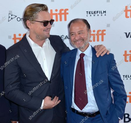 Leonardo DiCaprio (L) and Fisher Stevens attend the premiere of 'And We Go Green' at Ryerson Theatre during the Toronto International Film Festival in Toronto, Canada on Sunday, September 8, 2019.