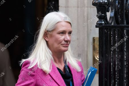 LONDON, UNITED KINGDOM - SEPTEMBER 07, 2021: Conservative Party Chairman and Minister without Portfolio Amanda Milling leaves Downing Street in central London after attending the first in-person Cabinet meeting this year following the return of Parliament after summer recess on September 07, 2021 in London, England.